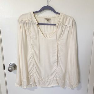 Lucky Brand Crochet Lace Inset 3/4 Sleeves Textured Peasant Top, Ivory Medium